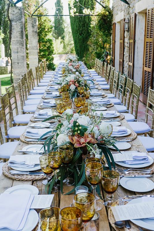 Finca Location Wedding Catering Mallorca - Dekoration der Hochzeitstafel - Mallorca Food Club